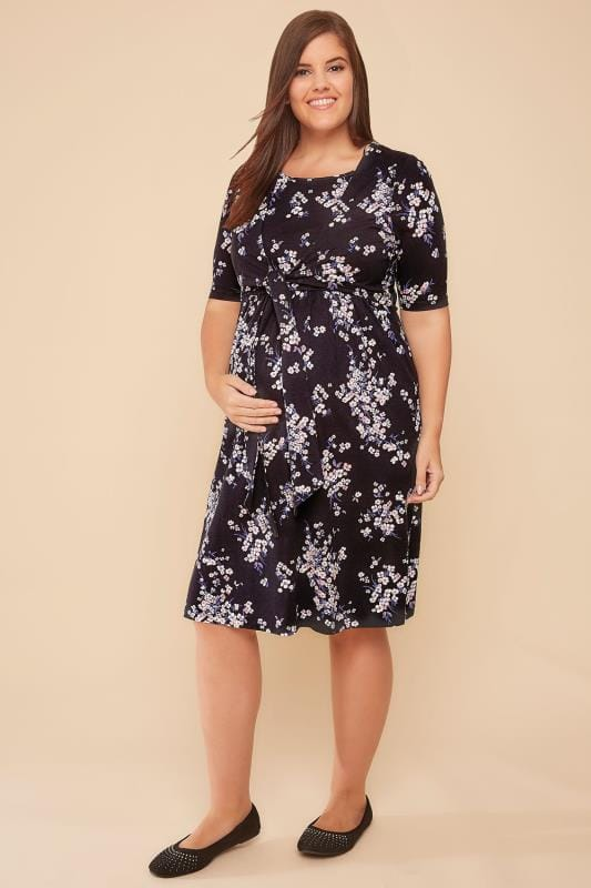 Plus Size Dresses BUMP IT UP MATERNITY Black & Multi Floral Print Tie Front Nursing Dress
