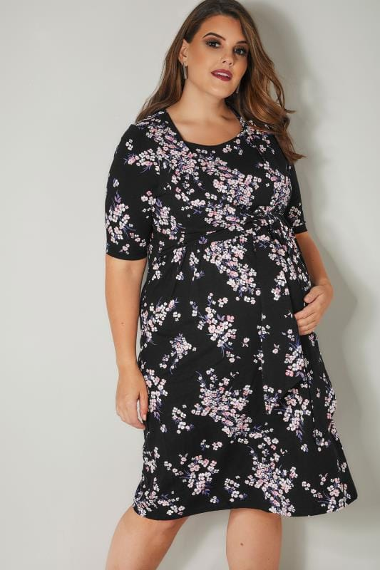 BUMP IT UP MATERNITY Black Floral Tie Front Nursing Dress