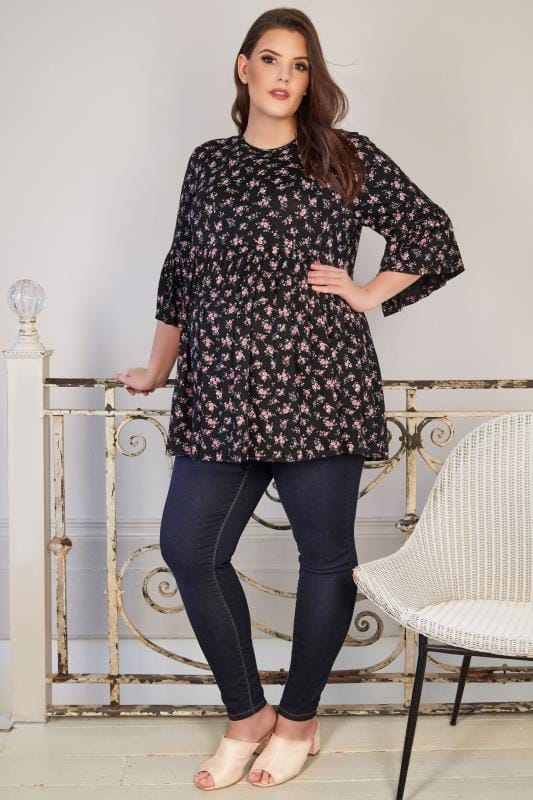 BUMP IT UP MATERNITY Black & Pink Swing Top With Elasticated Waist & Flute Sleeves
