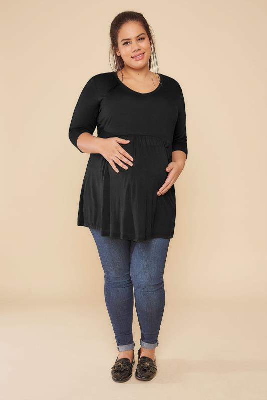 BUMP IT UP MATERNITY Black Ruched Waist Longline Top