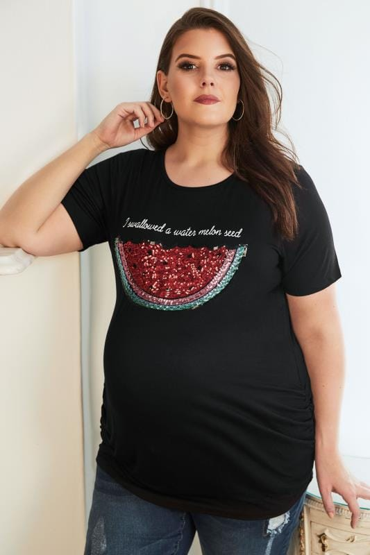 Plus Size Tops & T-Shirts BUMP IT UP MATERNITY Black Sequin Watermelon Top