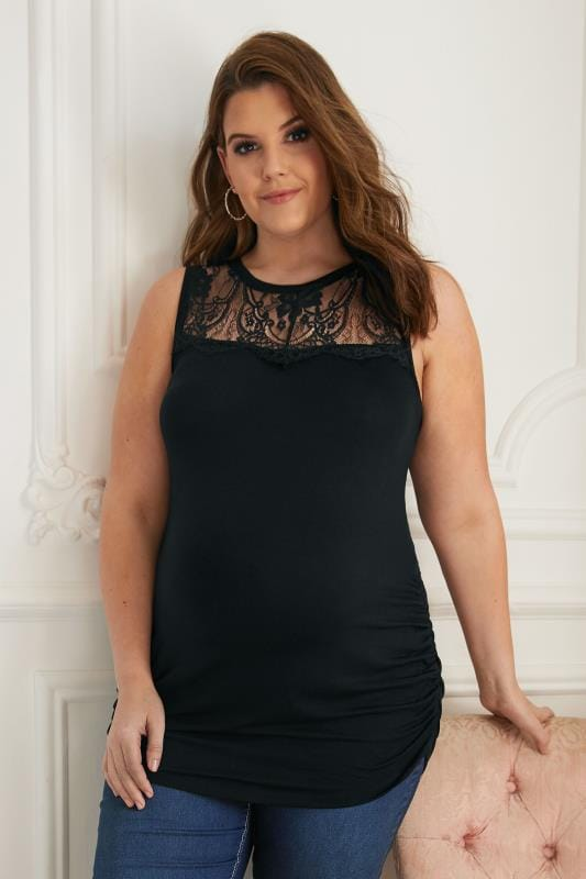 Plus Size Tops & T-Shirts BUMP IT UP MATERNITY Black Sleeveless Top With Lace Yoke