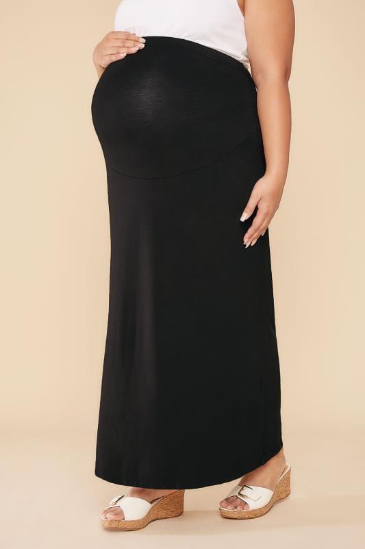 Skirts BUMP IT UP MATERNITY Black Tube Maxi Skirt With Comfort Panel 056349