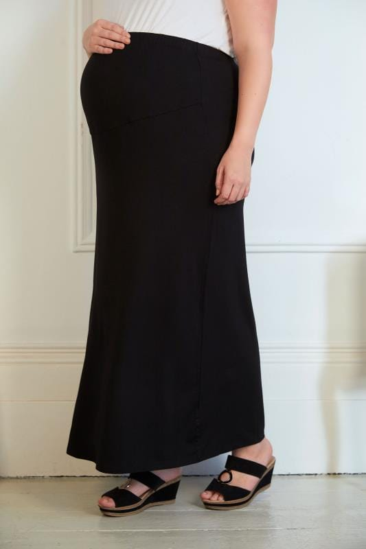 Plus Size Maternity Skirts BUMP IT UP MATERNITY Black Tube Maxi Skirt With Comfort Panel