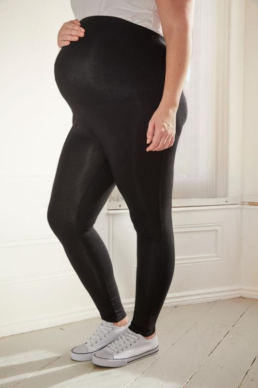 Plus Size Leggings BUMP IT UP MATERNITY Black Soft Touch Leggings With Comfort Panel