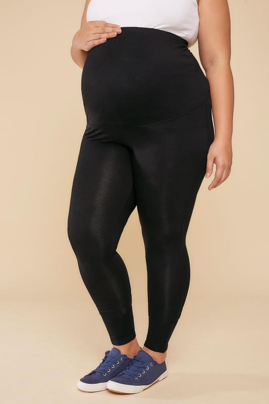 BUMP IT UP MATERNITY Black Viscose Elastane Leggings With Comfort Panel