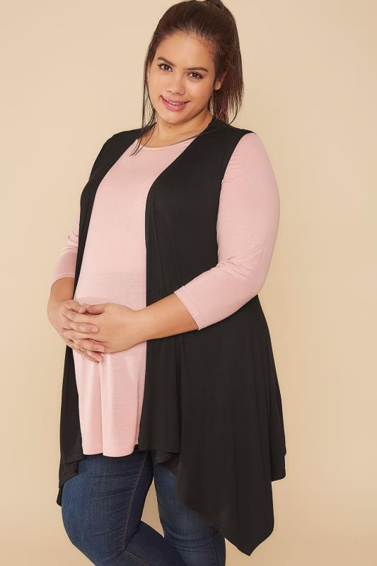 Plus Size Cardigans & Shrugs BUMP IT UP Black Longline Sleeveless Waterfall Wrap