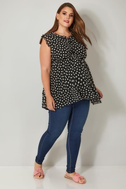 BUMP IT UP MATERNITY Black & White Heart Print Chiffon Top