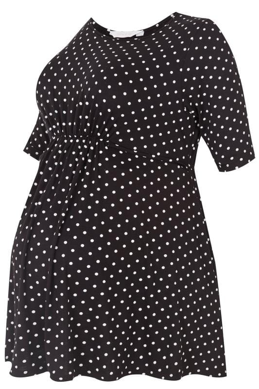 Topy i koszulki dla puszystych BUMP IT UP MATERNITY Black & White Polka Dot Top With Tie Waist