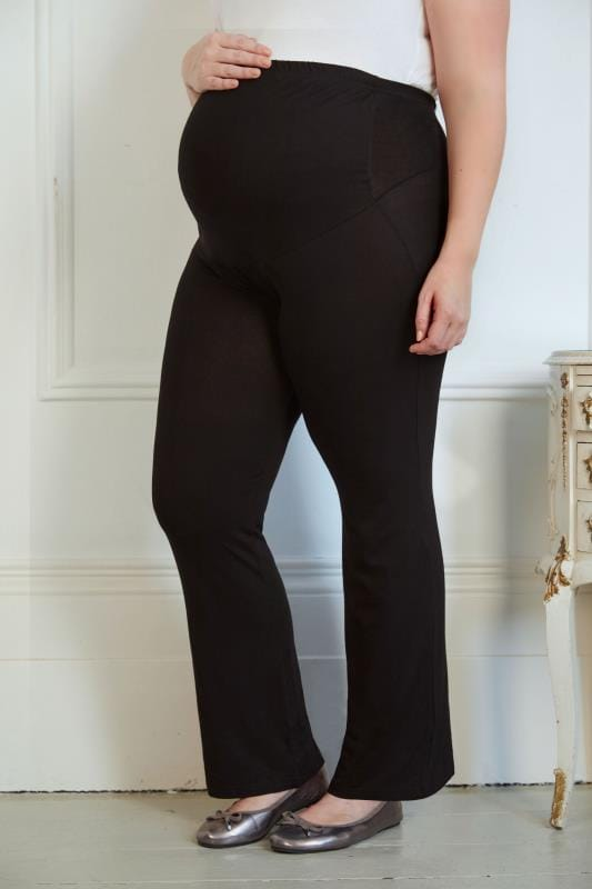 Plus Size Trousers BUMP IT UP MATERNITY Black Yoga Pants With Control Panel