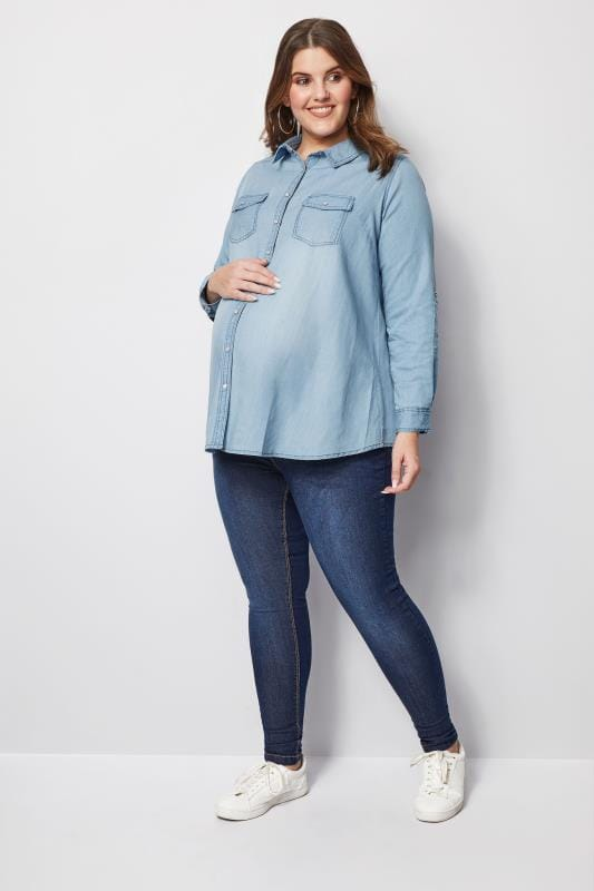 Plus Size Maternity Tops & T-Shirts BUMP IT UP MATERNITY Blue Denim Shirt
