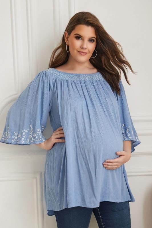 Plus Size Maternity Tops & T-Shirts BUMP IT UP MATERNITY Blue Embroidered Smock Neck Plisse Top