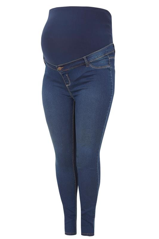 Plus Size Jeans & Jeggings BUMP IT UP MATERNITY Blue Super Stretch Skinny Jeggings With Comfort Panel