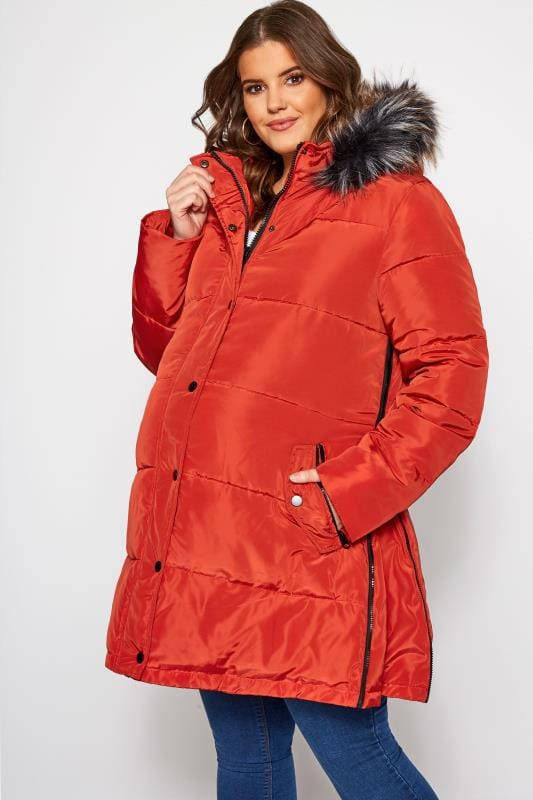 Plus Size Puffer & Quilted Jackets BUMP IT UP MATERNITY Burnt Orange Zip Up Puffer Coat