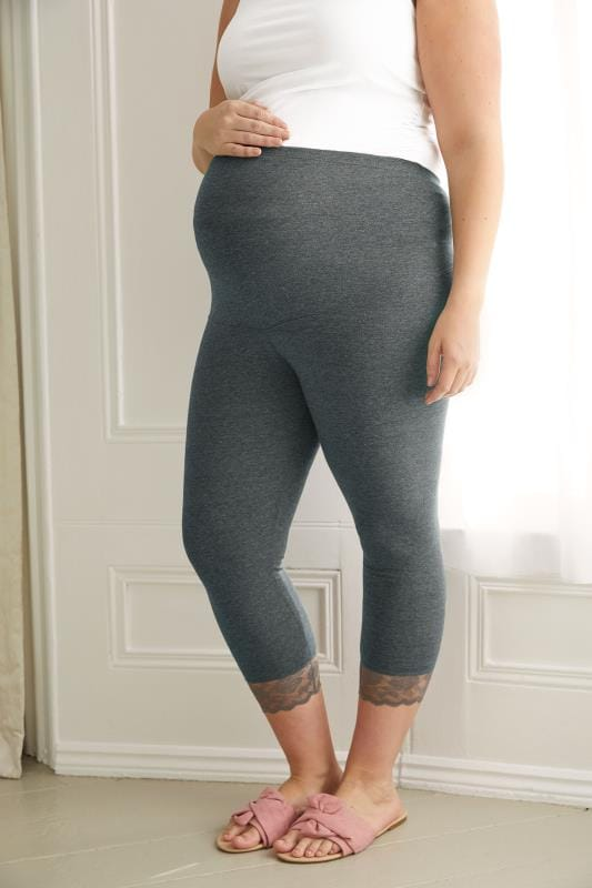 Plus Size Maternity Leggings BUMP IT UP MATERNITY Charcoal Cropped Leggings With Lace Trim