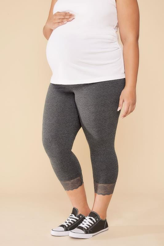 Plus Size Leggings BUMP IT UP MATERNITY Charcoal Cropped Leggings With Lace Trim