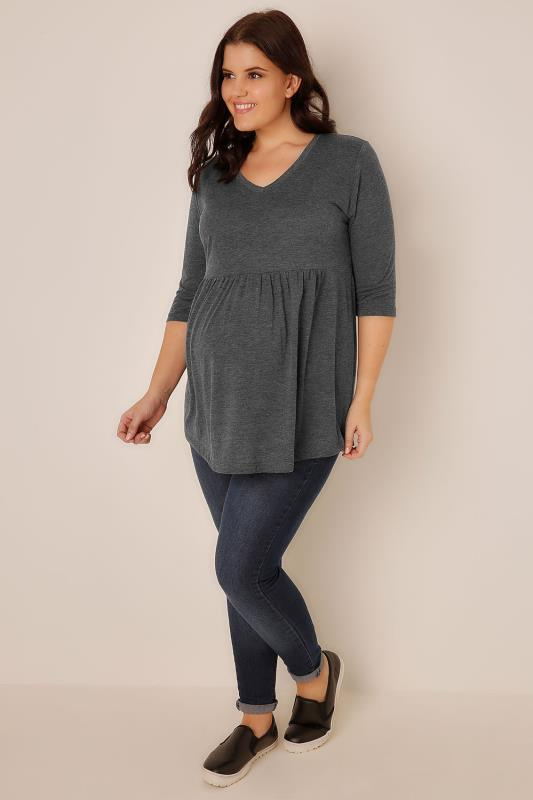 Plus Size Tops & T-Shirts BUMP IT UP MATERNITY Charcoal Grey Ruched Waist Longline Top