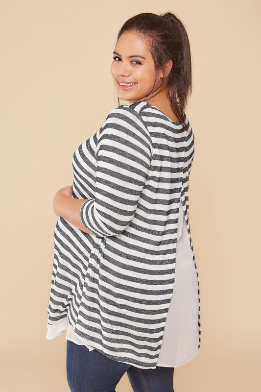 BUMP IT UP MATERNITY Charcoal Grey & White Stripe Split Back Top With Chiffon Layer
