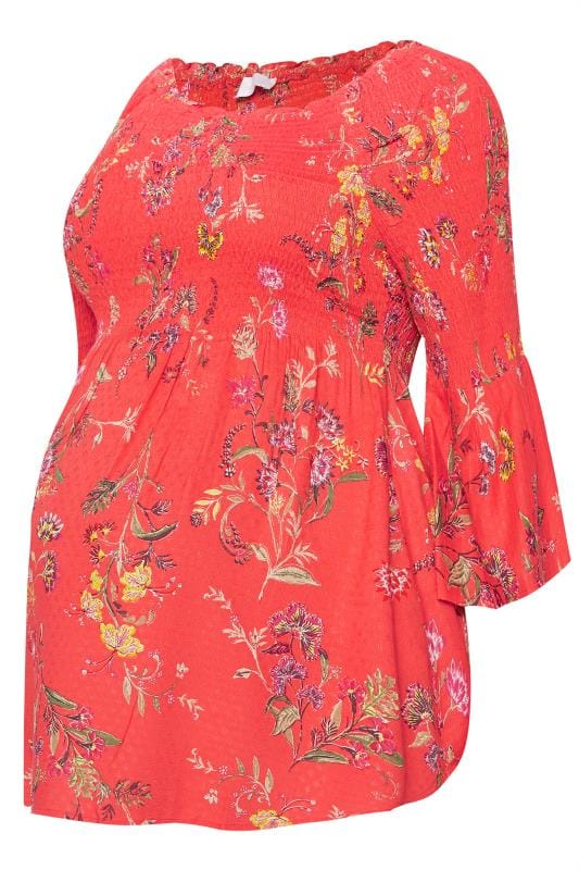 Bump it up maternity coral floral shirred top plus sizes for Background images in div