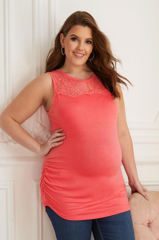 Plus Size Tops & T-Shirts BUMP IT UP MATERNITY Coral Sleeveless Top With Lace Yoke