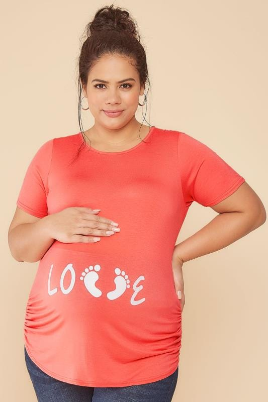Tops & T-Shirts BUMP IT UP MATERNITY Coral Top With White Glitter 'Love' Print 056357
