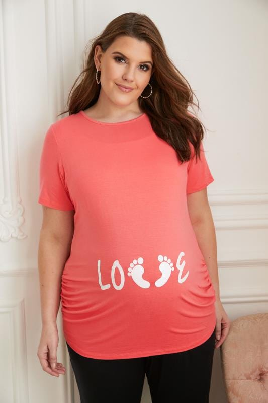 BUMP IT UP MATERNITY Coral Top With White Glitter 'Love' Print