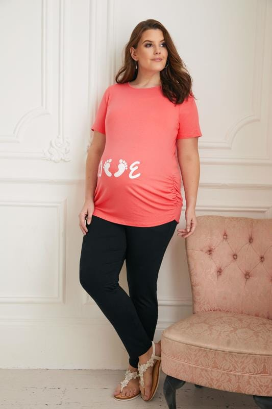 BUMP IT UP MATERNITY Coral Glittery 'Love' Top