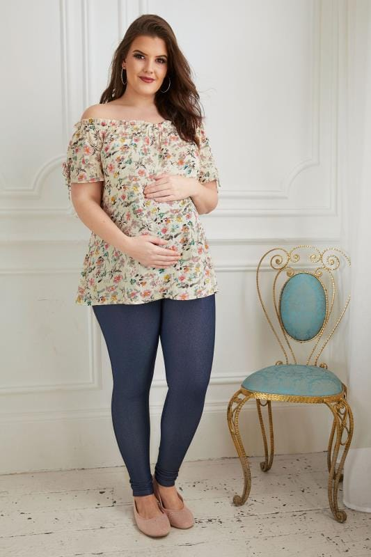 BUMP IT UP MATERNITY Cream & Multi Floral Print Bardot Top