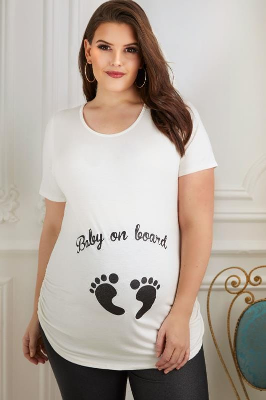Plus Size Tops & T-Shirts BUMP IT UP MATERNITY Cream Top With Black Glitter 'Baby On Board' Print