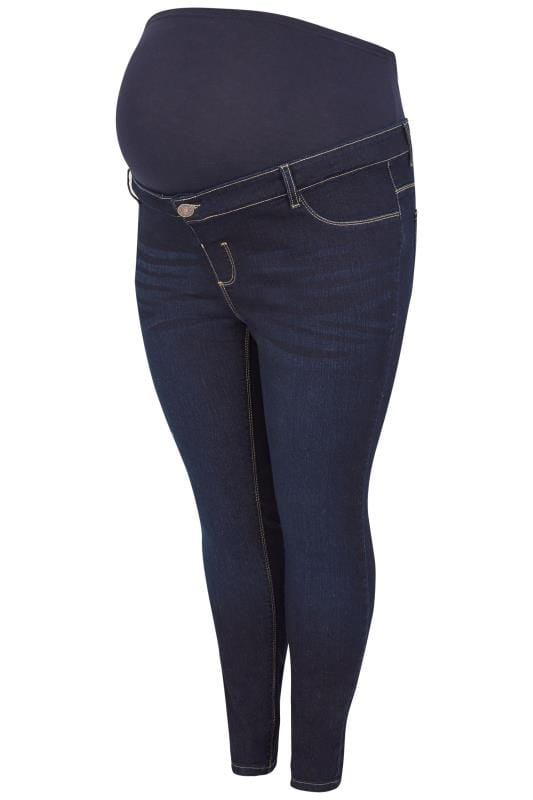 BUMP IT UP MATERNITY Dark Blue Skinny Jeans With Comfort Panel