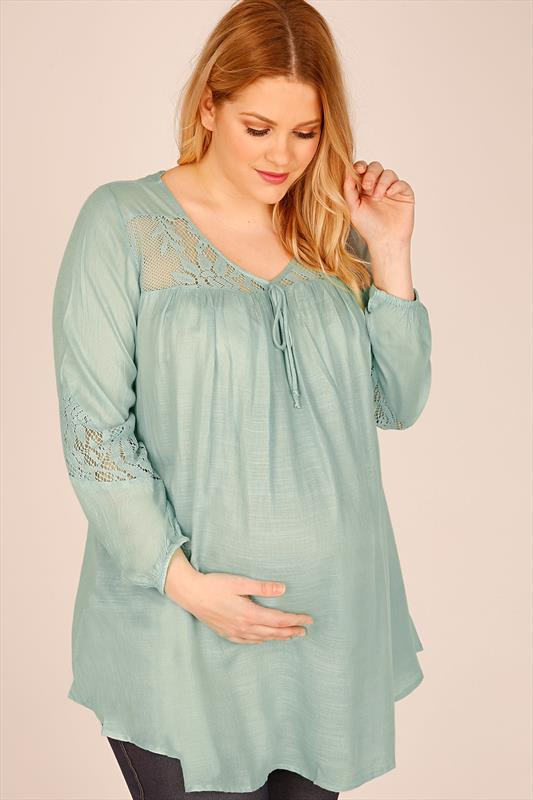 BUMP IT UP MATERNITY Duck Egg Blue Blouse With Crochet Inserts