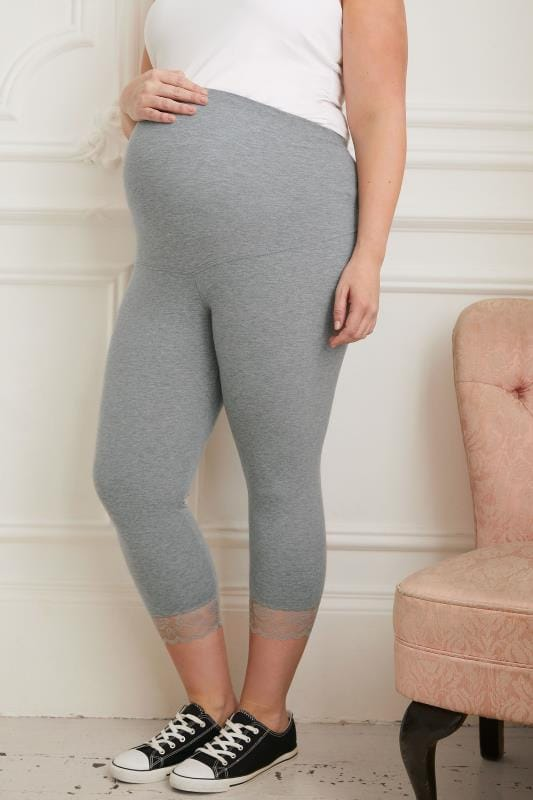 Plus Size Maternity Leggings BUMP IT UP MATERNITY Grey Cropped Leggings With Lace Trim