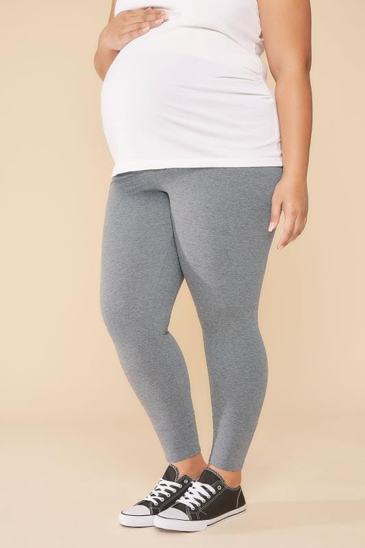 Plus Size Leggings BUMP IT UP MATERNITY Grey Cotton Elastane Leggings With Comfort Panel