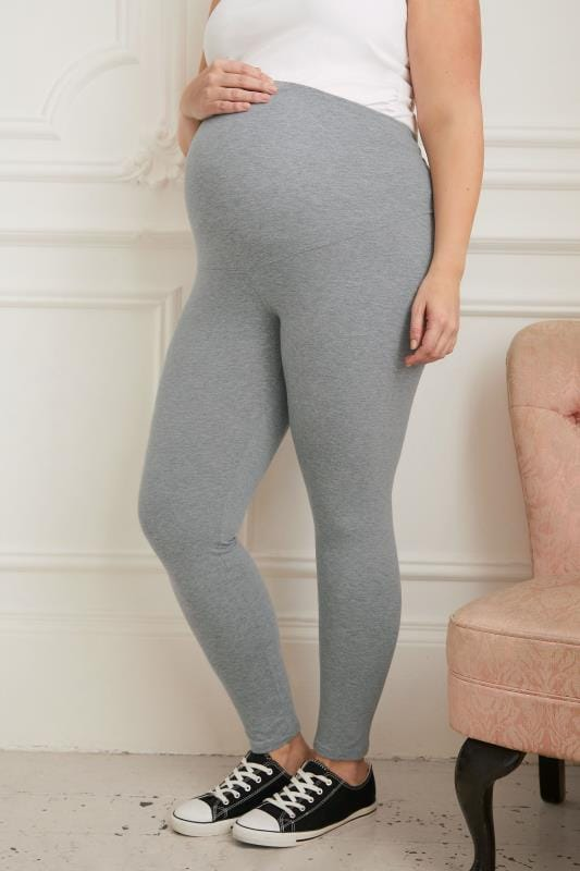 Plus Size Leggings BUMP IT UP MATERNITY Grey Cotton Essential Leggings With Comfort Panel