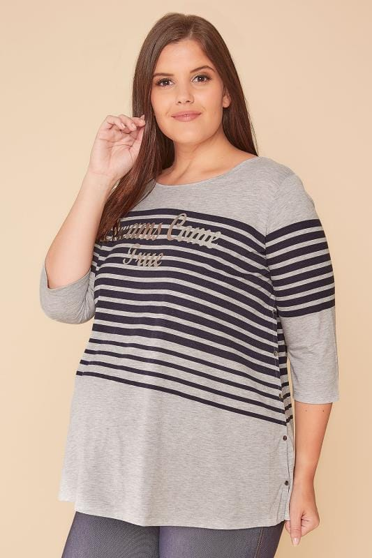 BUMP IT UP MATERNITY Grey & Navy Stripe 'Dreams Come True' Top With Nursing Friendly Popper Sides