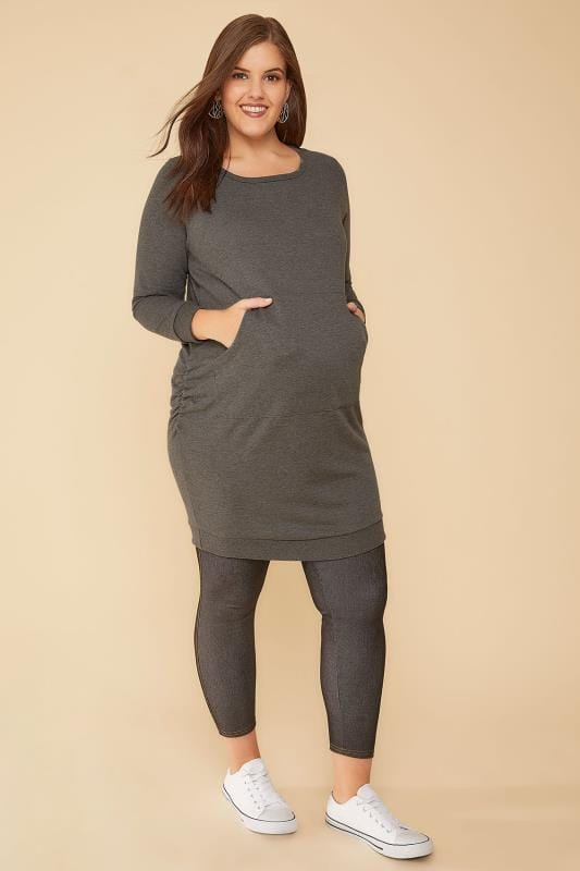 BUMP IT UP MATERNITY Grey Sweatshirt Dress