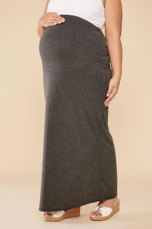 Plus Size Maternity Skirts BUMP IT UP MATERNITY Grey Tube Maxi Skirt With Comfort Panel