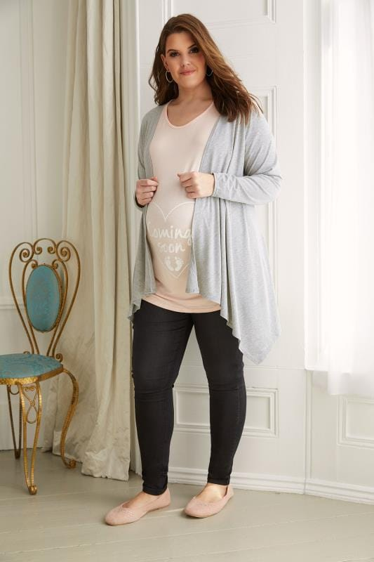 BUMP IT UP MATERNITY Grey Waterfall Cardigan
