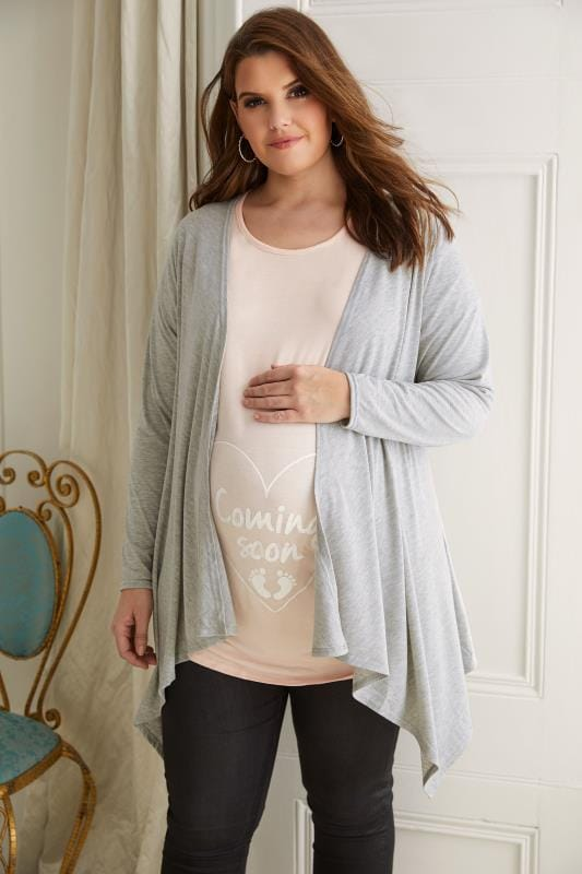 Plus Size Maternity Cardigans & Shrugs BUMP IT UP MATERNITY Grey Waterfall Cardigan