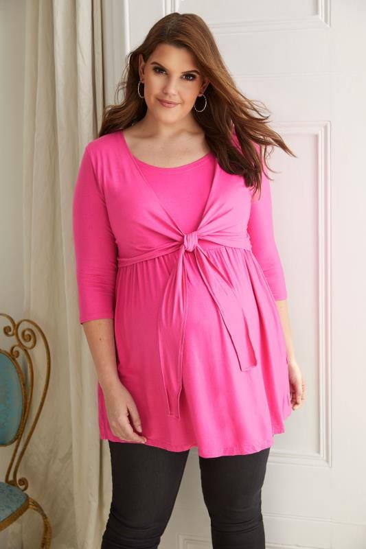 Plus Size Maternity Tops & T-Shirts BUMP IT UP MATERNITY Hot Pink Overlay Nursing Top