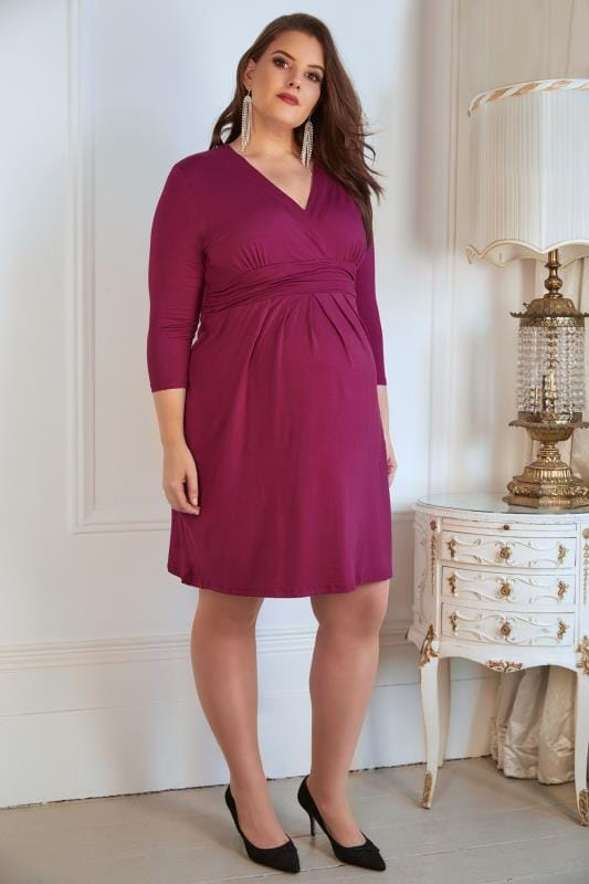 BUMP IT UP MATERNITY Magenta Wrap Over Jersey Midi Dress