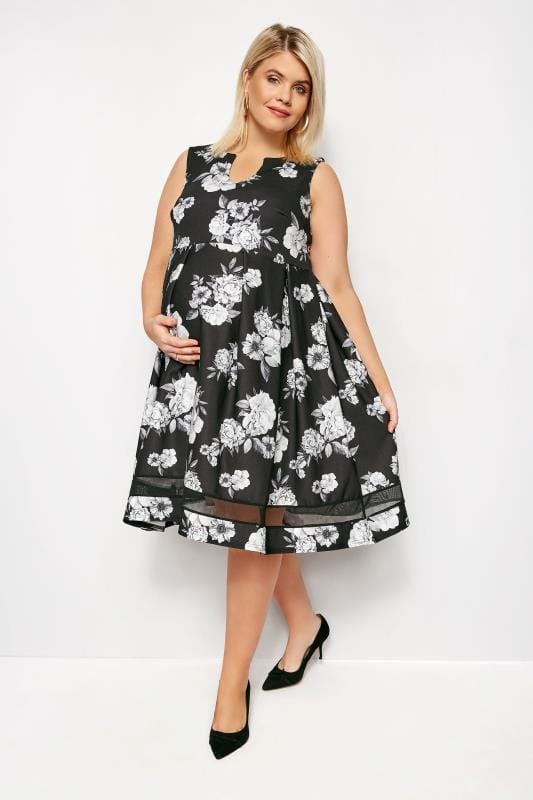 Plus Size Black Dresses BUMP IT UP MATERNITY Monochrome Floral Skater Dress