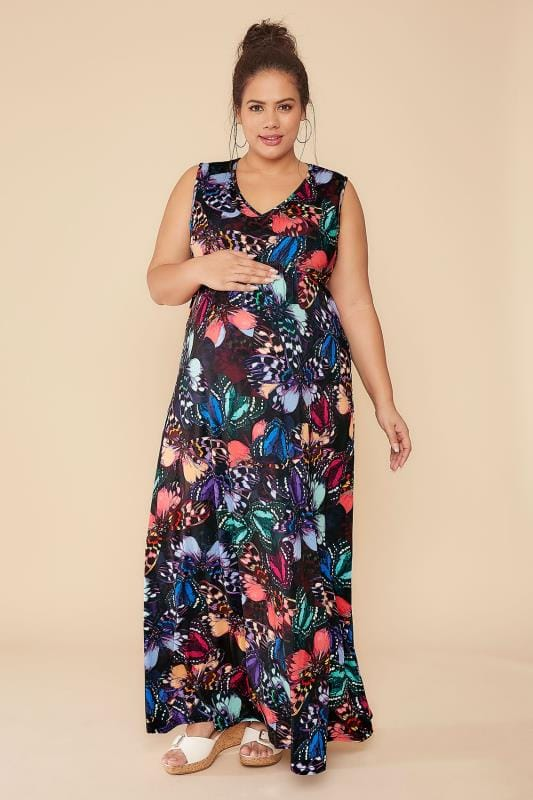 BUMP IT UP MATERNITY Multi Butterfly Print Maxi Dress