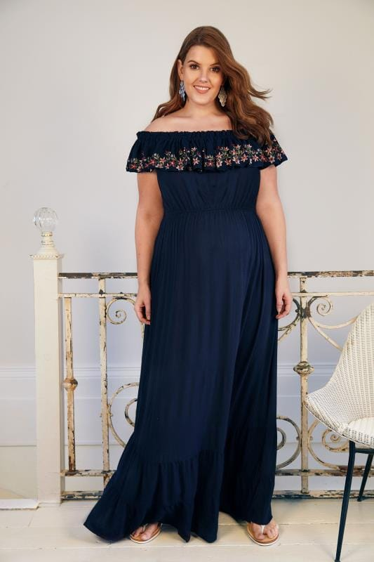 Plus Size Dresses BUMP IT UP MATERNITY Navy Bardot Maxi Dress With Embroidered Frill Panel