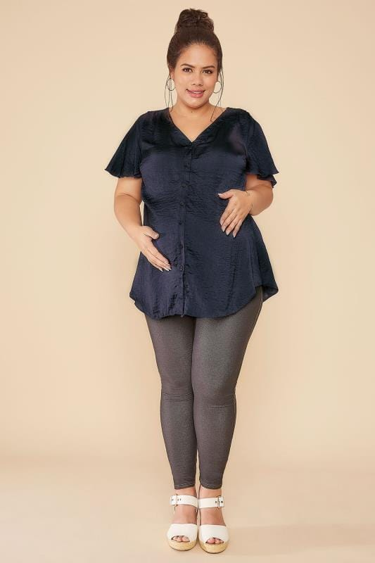 BUMP IT UP MATERNITY Navy Satin Blouse With Angel Sleeves