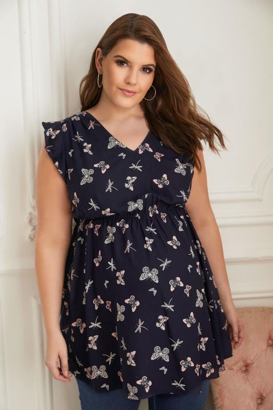 BUMP IT UP MATERNITY Navy Butterfly Top