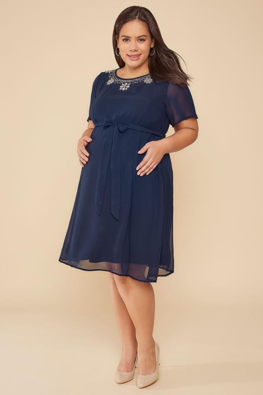BUMP IT UP MATERNITY Navy Chiffon Dress With Embellished Neckline