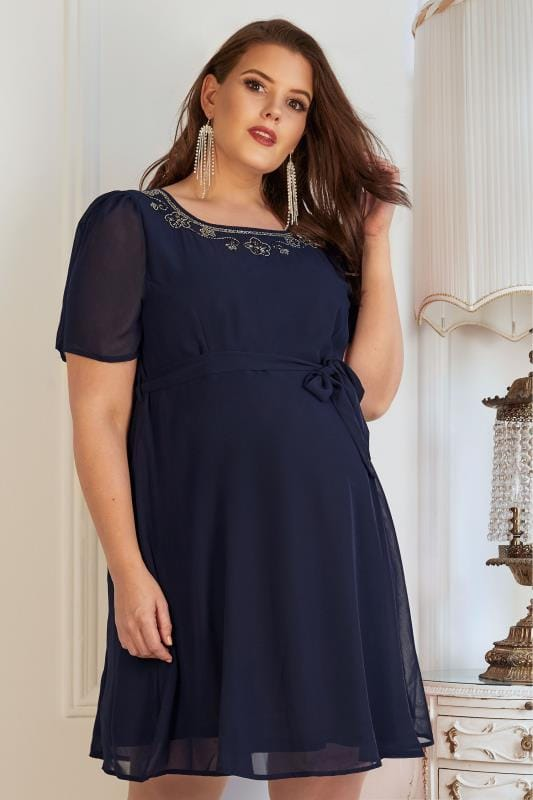 Plus Size Dresses BUMP IT UP MATERNITY Navy Chiffon Skater Dress With Embellished Neckline