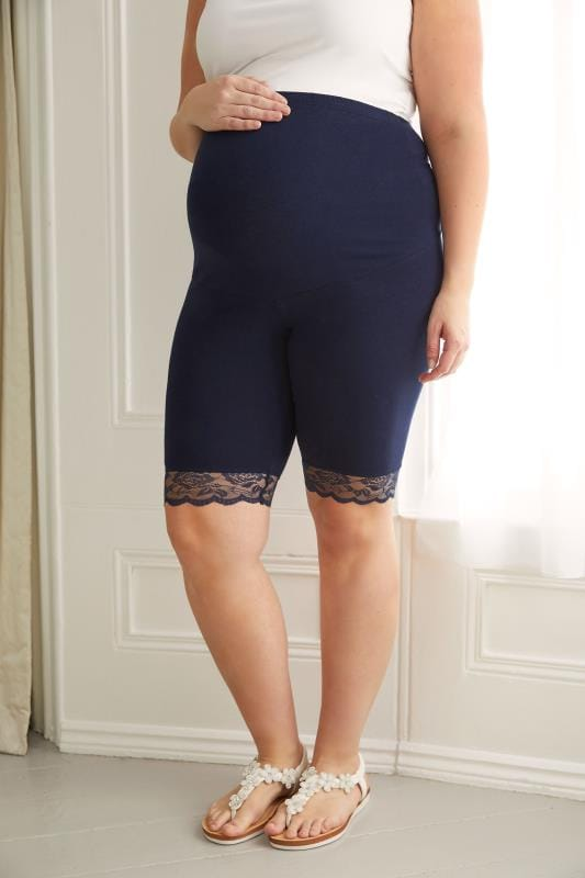Plus Size Leggings BUMP IT UP MATERNITY Navy Cotton Elastane Legging Shorts With Comfort Panel