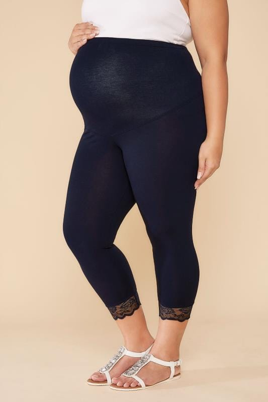 Plus Size Leggings BUMP IT UP MATERNITY Navy Cropped Leggings With Lace Trim